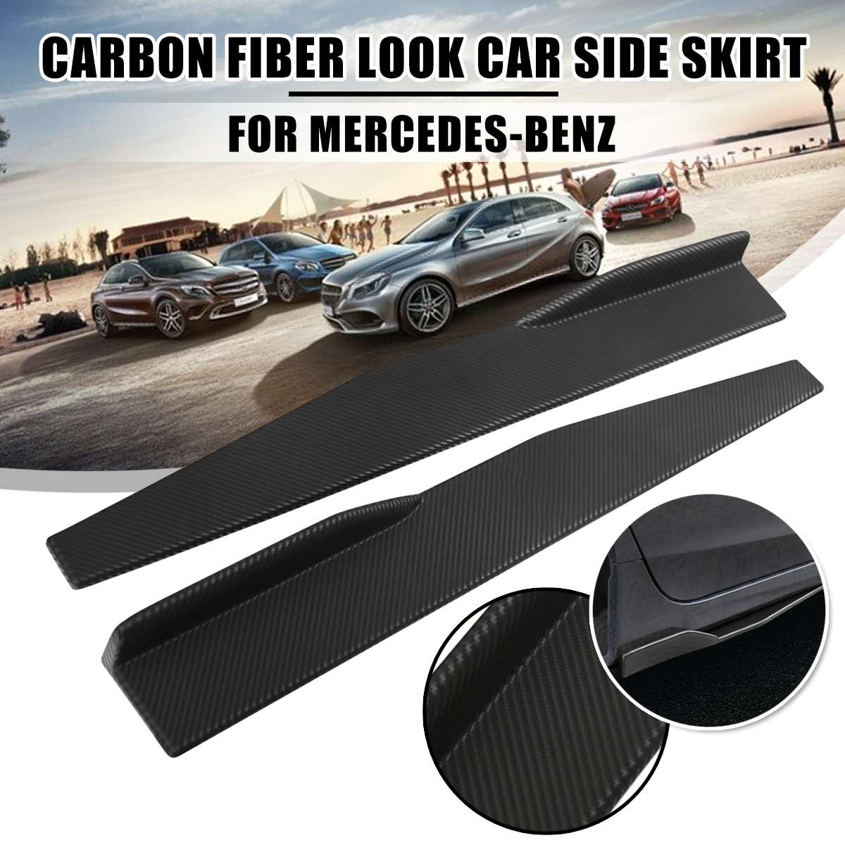 1 par con apariencia de fibra de carbono Universal para falda lateral de coche s para falda lateral de coche divisores de cohete Winglet alas laterales para Audi para Golf para Lexus