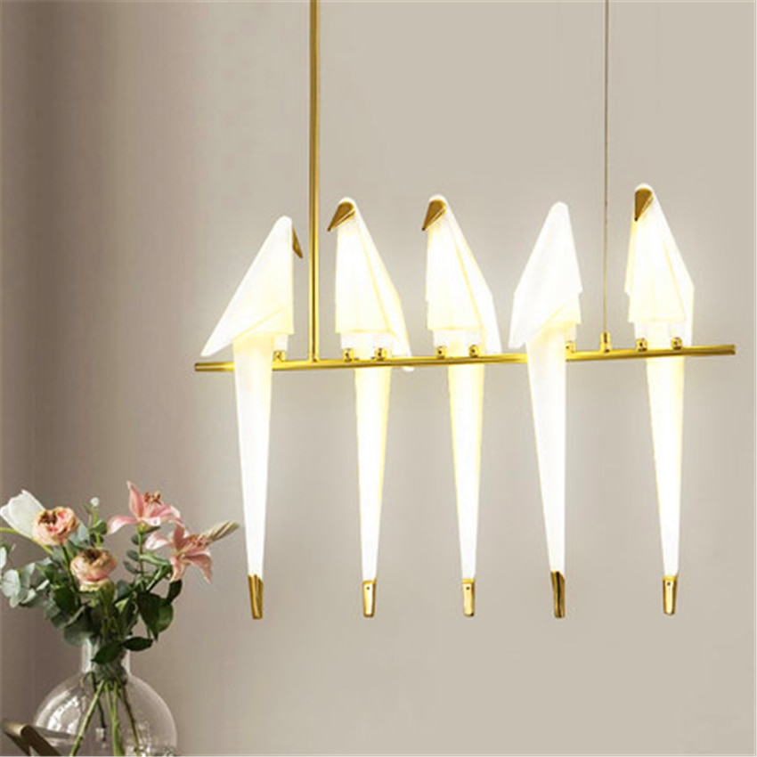 Luces colgantes de Metal con Grulla de papel para pájaros de estilo nórdico, accesorio de iluminación para cocina, lámpara colgante de decoración para el hogar, Luminaria para tienda de café