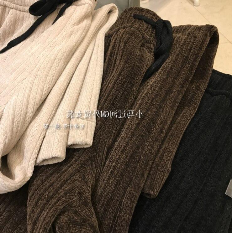 السببية السراويل ملابس حريمي في الخريف والشتاء مرونة الخصر تويست مستقيم أنبوب بنطلون واسع الساق