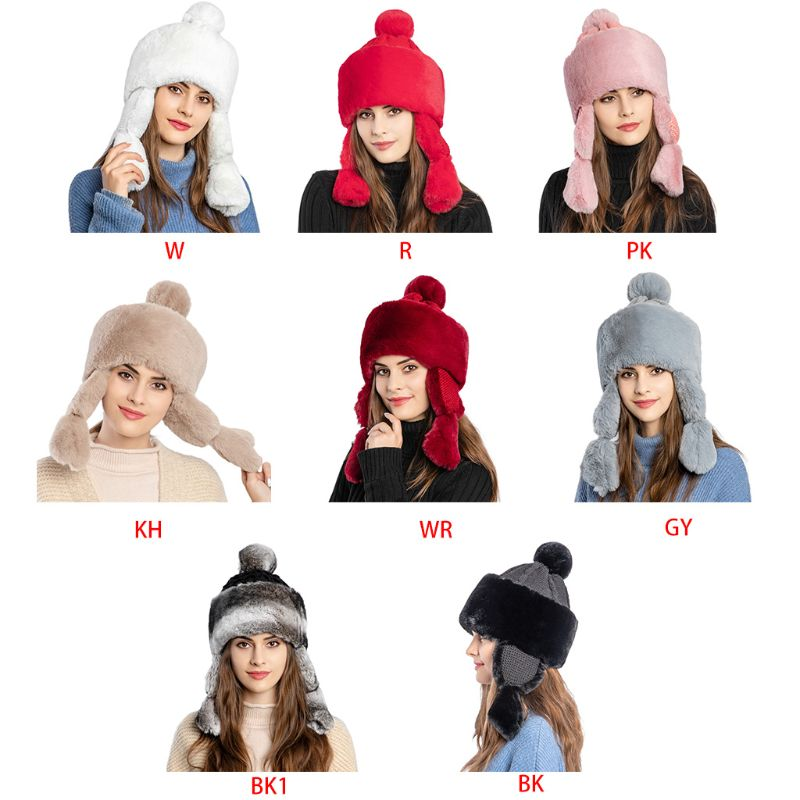 Womens Fluffy Plush Knitted Winter Earflap Hat Cute Pompom Russian Trapper Cap High Quality and Bran