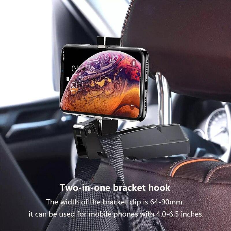 Youpin Backseat Phone Holder Car Headrest Mount For 64 To 90mm Mobile Phone Seat Back Hanger Clips Hooks enlarge