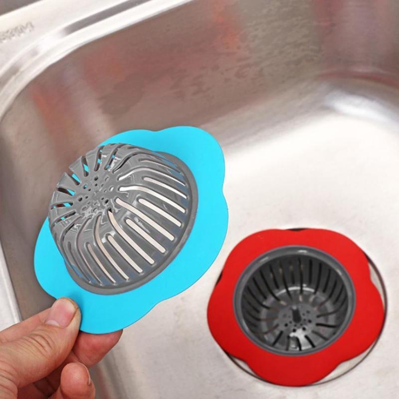 Filtro de silicona en forma de flor para fregadero Filtro de drenaje Fregadero de ducha desagüe cubierta fregadero de cocina plástico tapón Filtro de cabello de la bañera