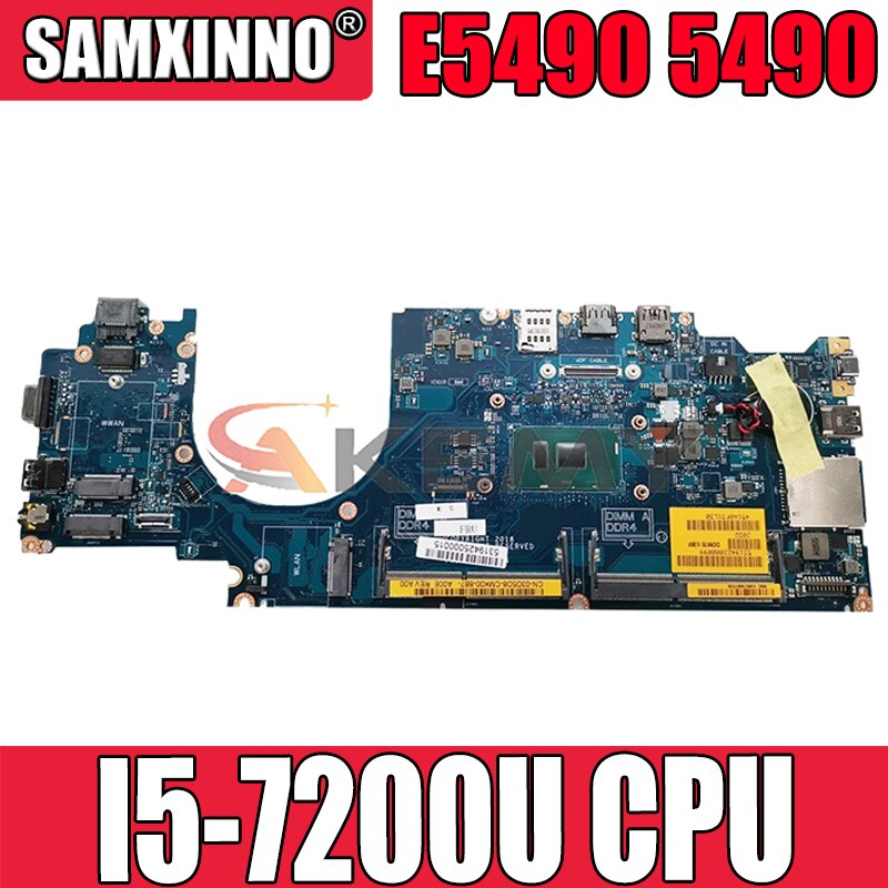 Akemy العلامة التجارية الجديدة I5-7200U لأجهزة الكمبيوتر المحمول DELL Latitude E5490 5490 اللوحة الأم DDM70 LA-F401P CN-08P4MX 8P4MX اللوحة الرئيسية 100% اختبارها