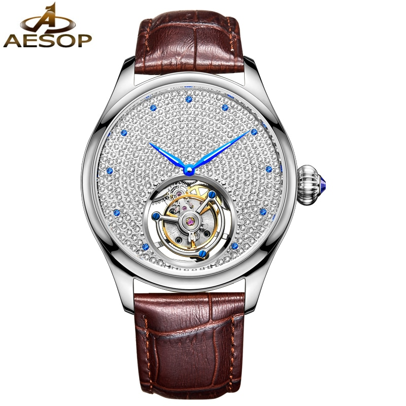 ايسوب العلامة التجارية الفاخرة الأصلي توربيون ساعة الرجال موضة الماس الكامل مقاوم للماء التلقائي الميكانيكية ساعات المعصم Reloj Hombre