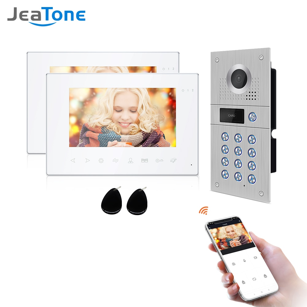 Jeatone Wireless Video Intercom for Home IP Video Doorbell Password Unlock HD 7 inch Touch Screen Wifi Intercom System Kit