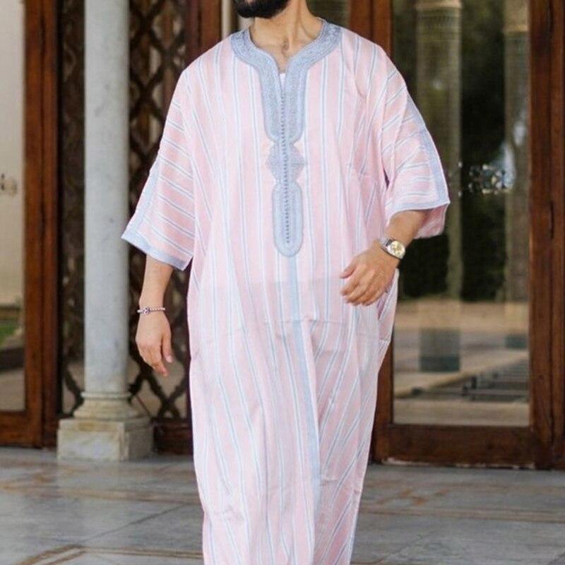 Исламский кафтан, мусульманская одежда, халаты, мужская повседневная свободная одежда в полоску с длинным рукавом, модная мужская толстовк...
