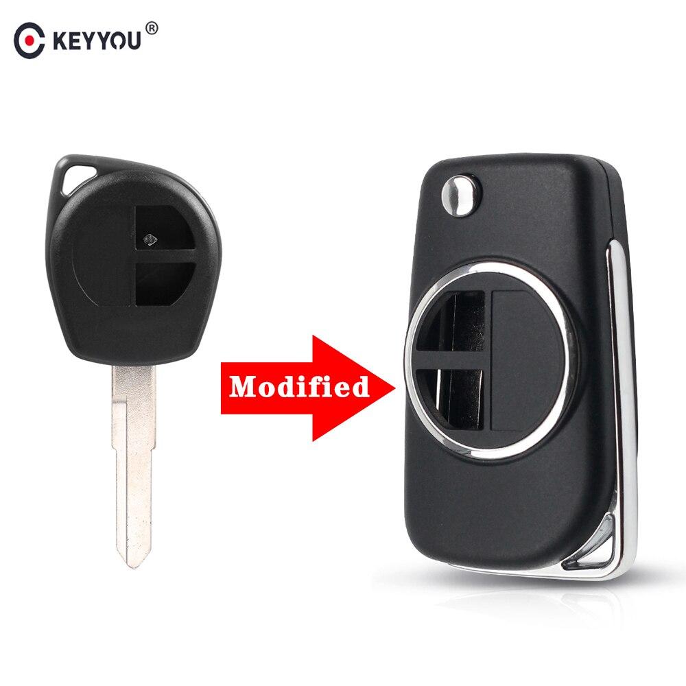 KEYYOU High Quality 2 BTN Modified Flip Folding Car Remote Key Case Shell for SUZUKI SWIFT SX4 ALTO VITARA IGNIS JIMNY Splash