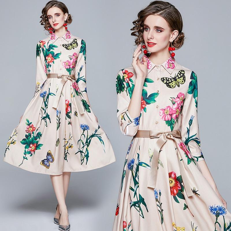 ZUOMAN Women Spring & Summer Elegant Floral Dress Shirt High Quality Long Wedding Party Robe Femme Vinatge Designer Vestidos