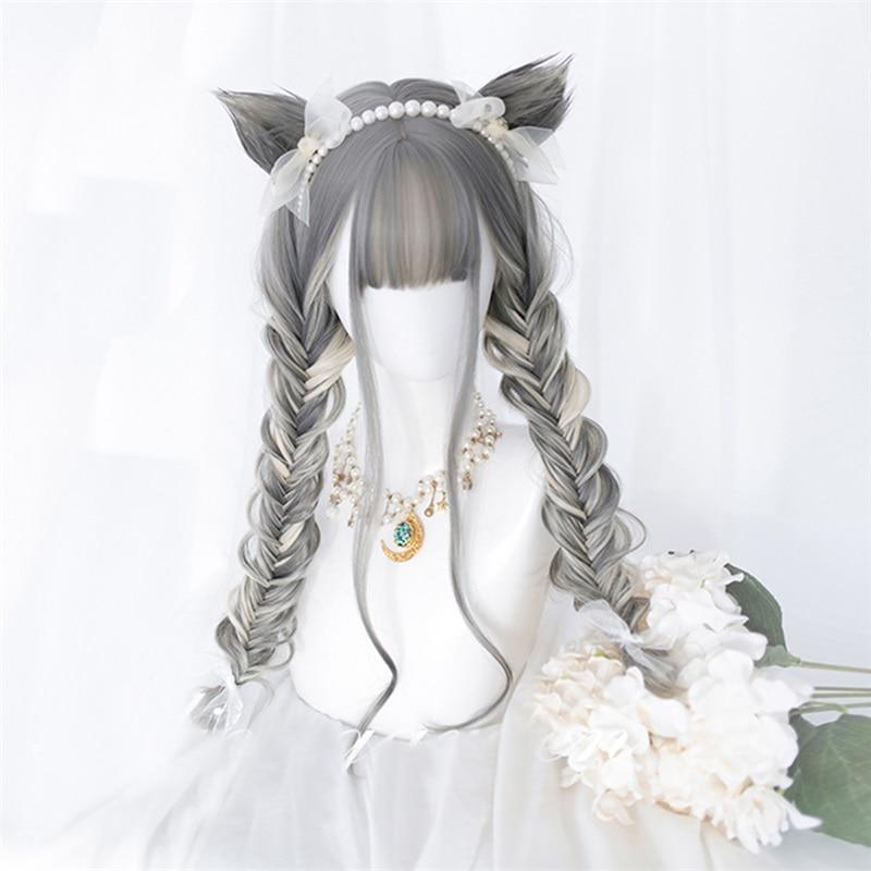 CosplayMix 30/65CM Lolita Blonde mezcla gris Ombre largo ondulado sintético Bob flequillo gato auricular Halloween Cosplay peluca + gorra gratis