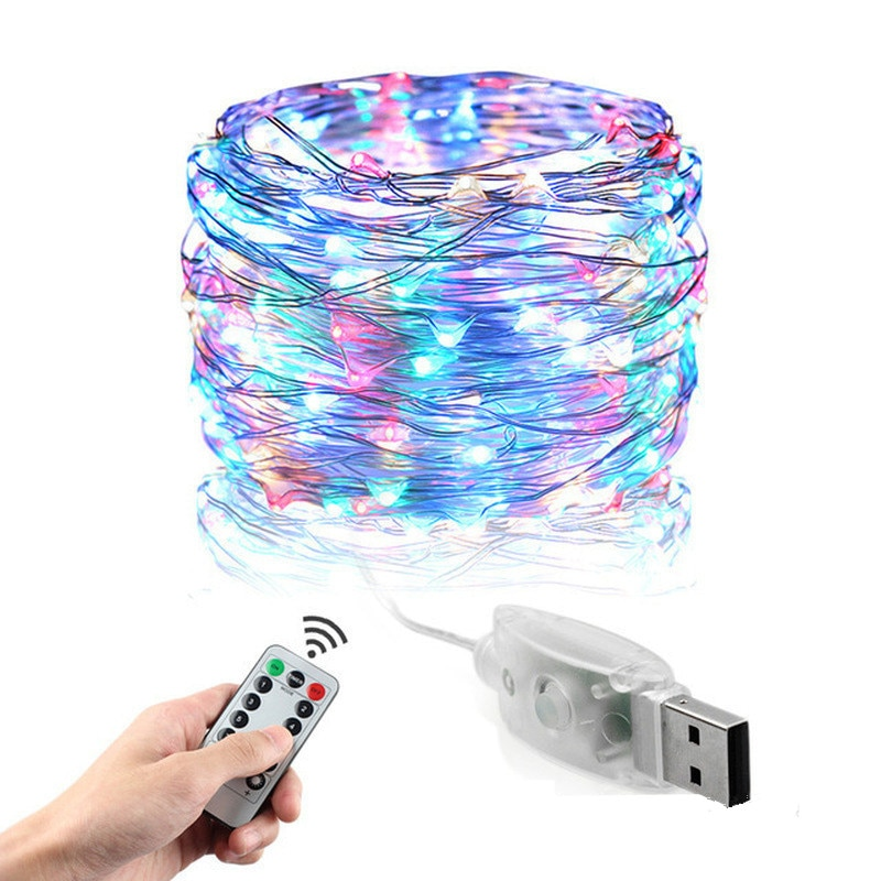led string light silver wire fairy lights usb garland home christmas wedding party decorations light powered by usb 5m 10m 20m LED String Lights Silver Wire Led Garland Powered By USB Fairy Light Outdoor Holiday Christmas Lights Wedding Party Decoration