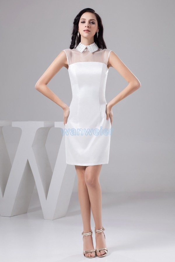 free shipping 2020 new design knee-Length formal gown high neck custommade size brides maid white bridesmaid Dress
