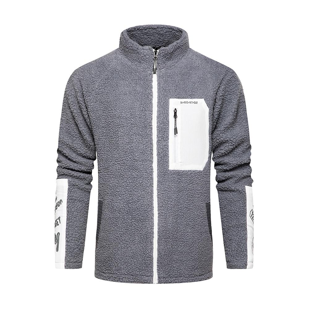 Covrlge Thick Warm Cardigan Jacket Personalized Pocket Contrast Color Stitching Lamb Wool Sweater Men Plus Velvet Men MWK020