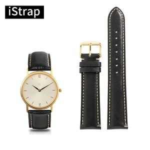 iStrap Watchband 18mm 19mm 20mm 21mm 22mm Genuine Leather Black Strap With Beige Stitch Rose Gold Pin Buckle For Men Women Watch