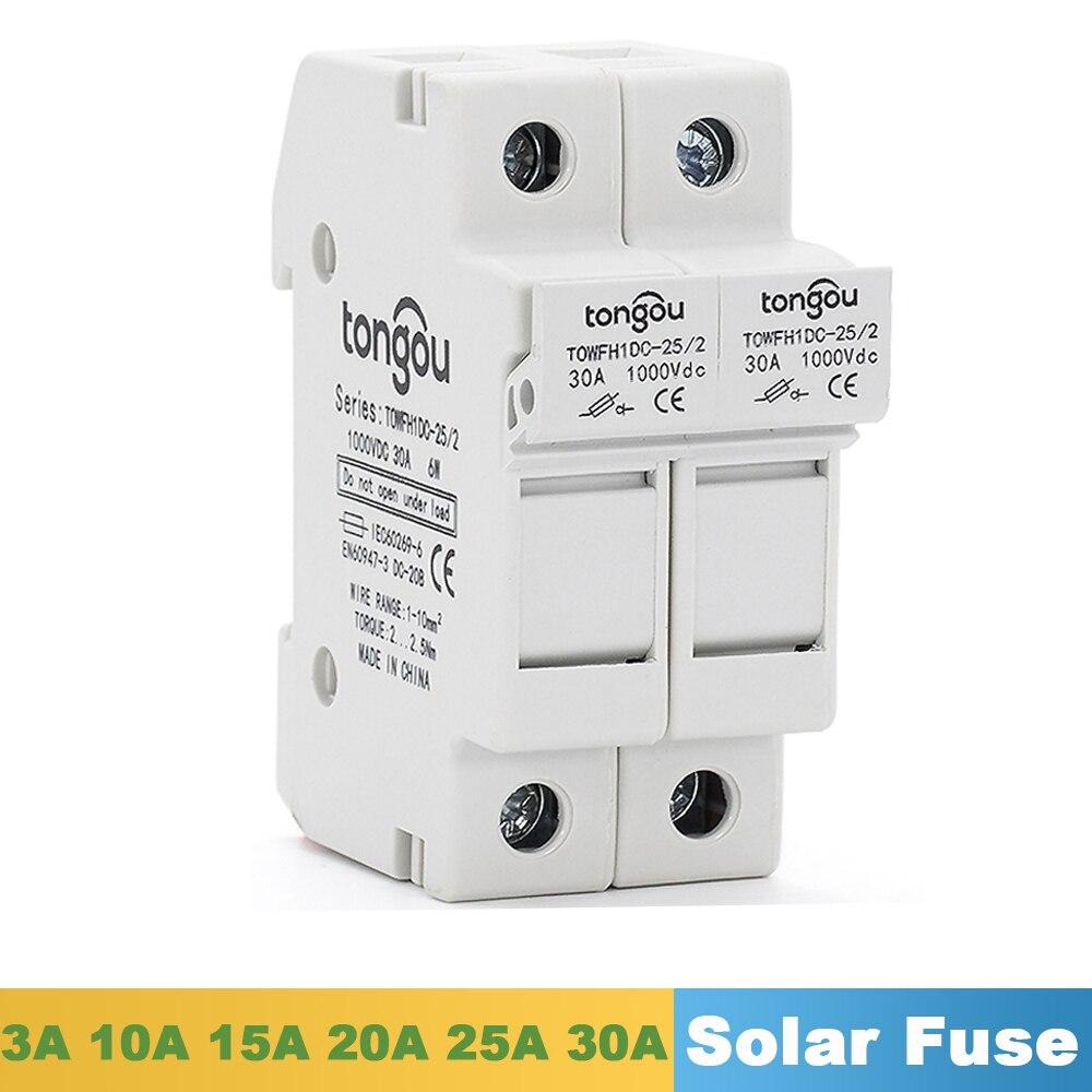 Portafusible paralelo 3A 10A 15A 20A 25A 30A 2P con dos piezas CC 1000V Fusible Solar 10*38mm para paneles solares cuerdas de CC IEC EN