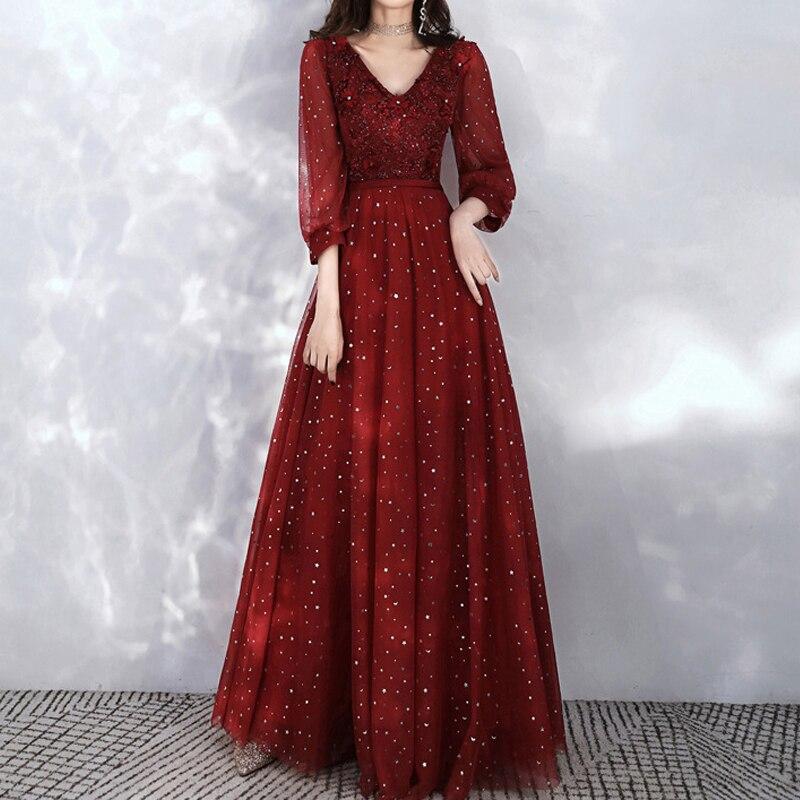 2021 صيف جديد وصول الأحمر الخامس الرقبة فساتين حفلات الزفاف الزفاف مساء Vestido سيدة أنيقة طويلة الأكمام طويلة الترتر حفلة موسيقية رداء