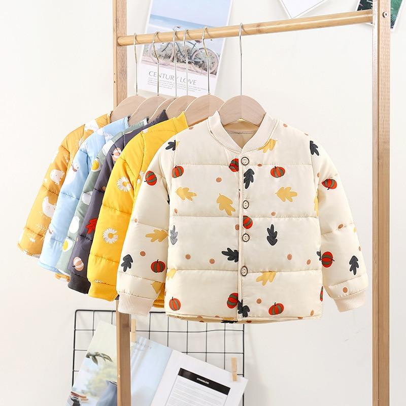 Winter Baby Girls Thicken Parkas 2-7Y Children's Long Sleeve Warm Jacket Autumn Kid Casual V-Neck Cl