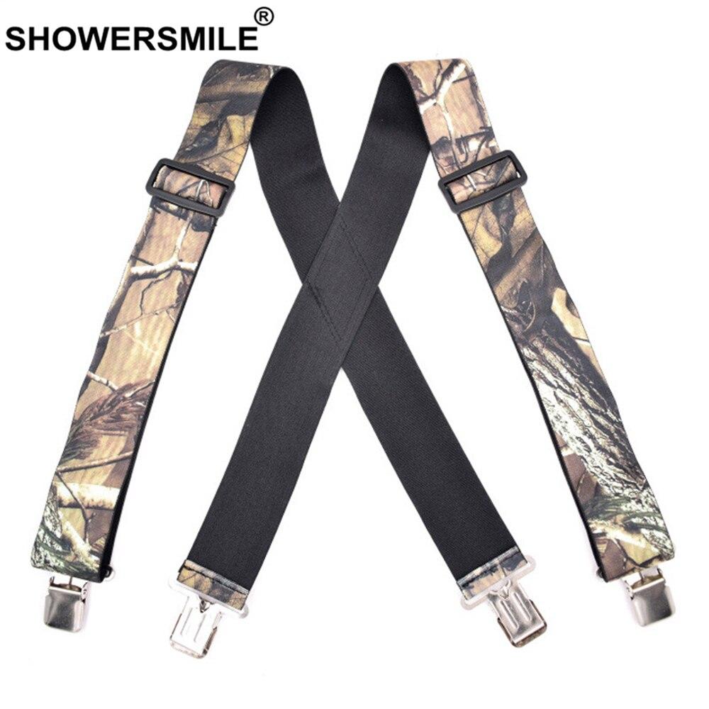 Камуфляжные подтяжки SHOWERSMILE для мужчин, широкие подтяжки для взрослых, мужские подтяжки повышенной прочности, мужские подтяжки для телефон...