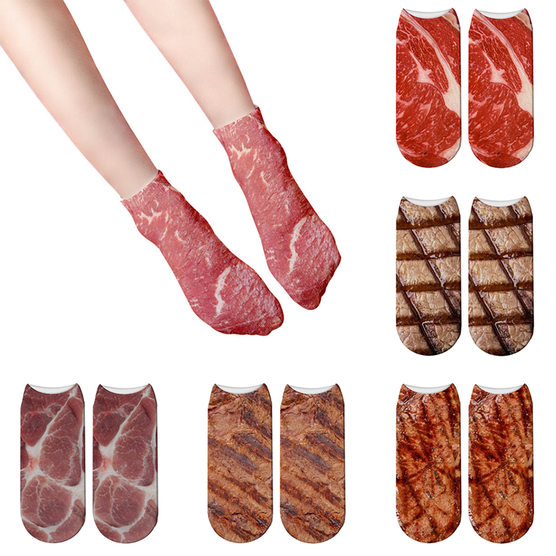 3D Meat Printed Low Ankle Socks Unisex Funny Steak Barbecue Cotton Short Casual Creativity Compression Boat Sox For Female