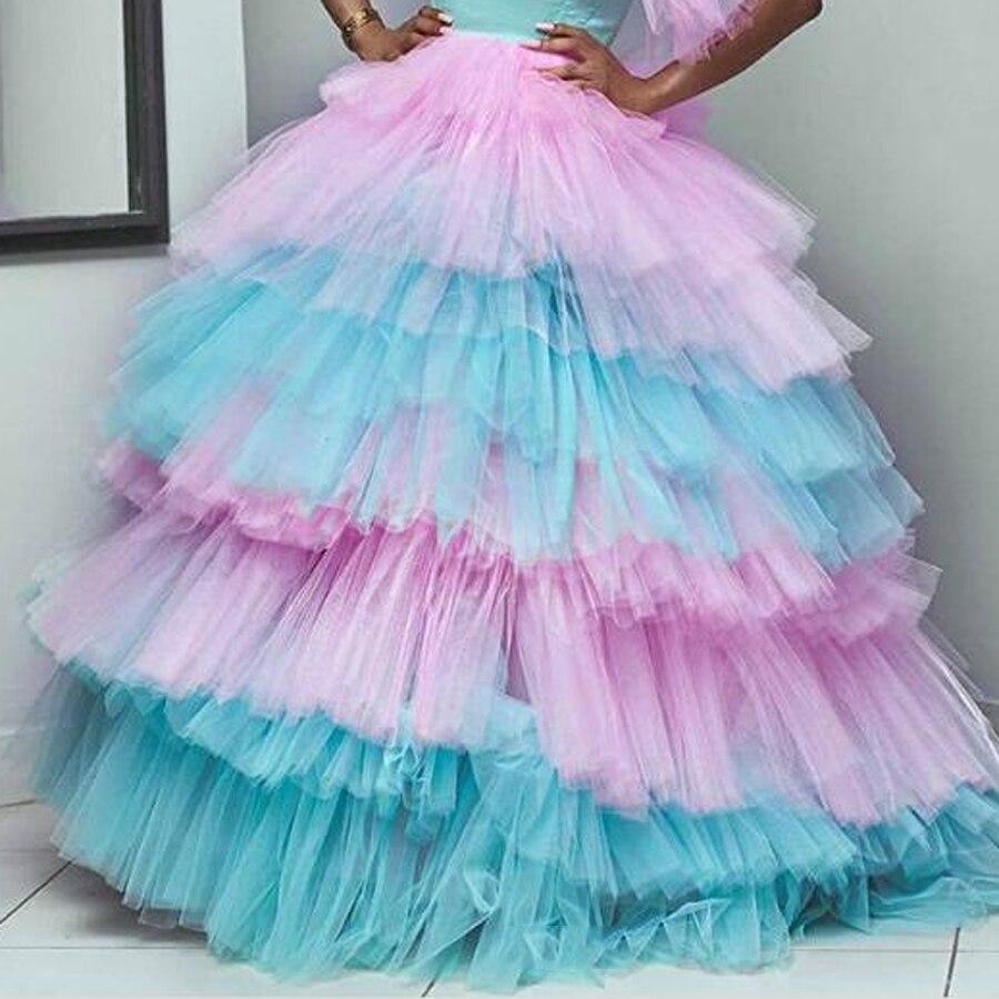 Faldas de tul con volumen y colores combinados a la moda para novia, exuberantes volantes escalonados, tutú, bola grande, vestidos de tul, falda elástica para mujer