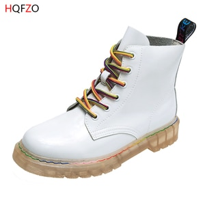 HQFZO Women Ankle Boots Platform Lace Up Rainbow Cross-tied Patent Leather Martin Boots Thick Bottom Motorcycle Boots Dr Mujer