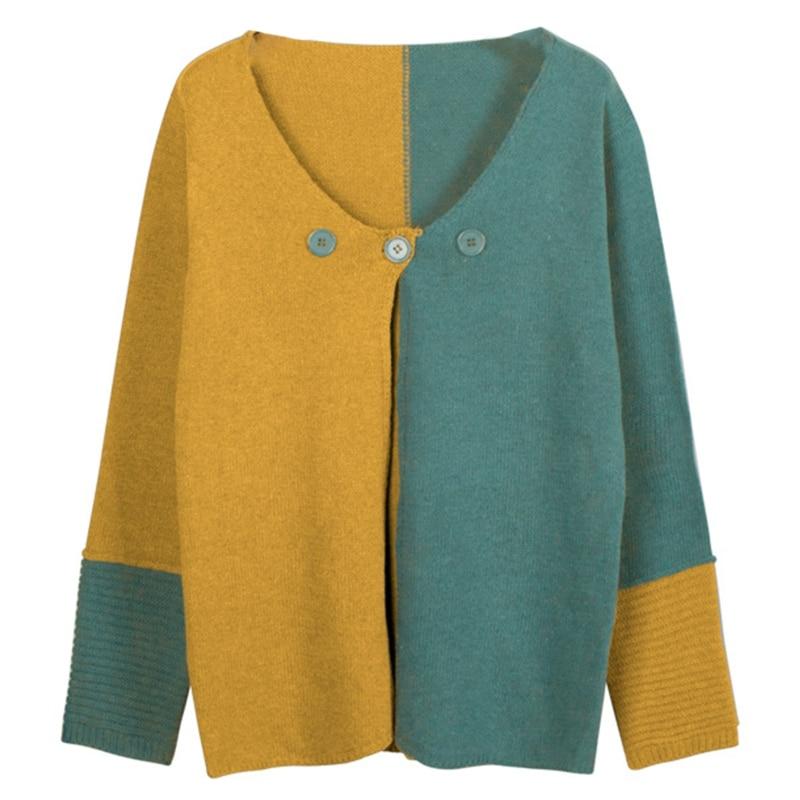 Women Autumn Long Sleeve Knitted Cardigan Color Block Patchwork V-Neck Sweater Coat Button Split Open Front Loose Jumper enlarge