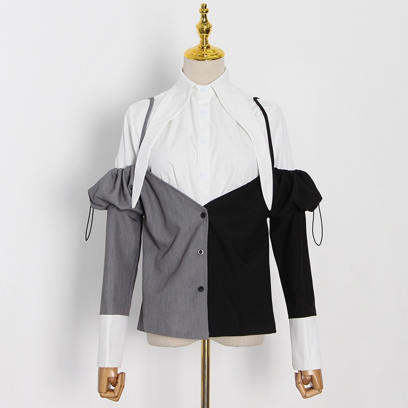 New fashion temperament casual lapel row buckle design niche contrast color stitching top shirt