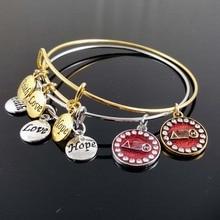 Custom Griekenland Griekse Aeo Handmake Geloof Liefde Hoop Sorority Dst Diy Charm Verstelbare Bangle Armband Sieraden