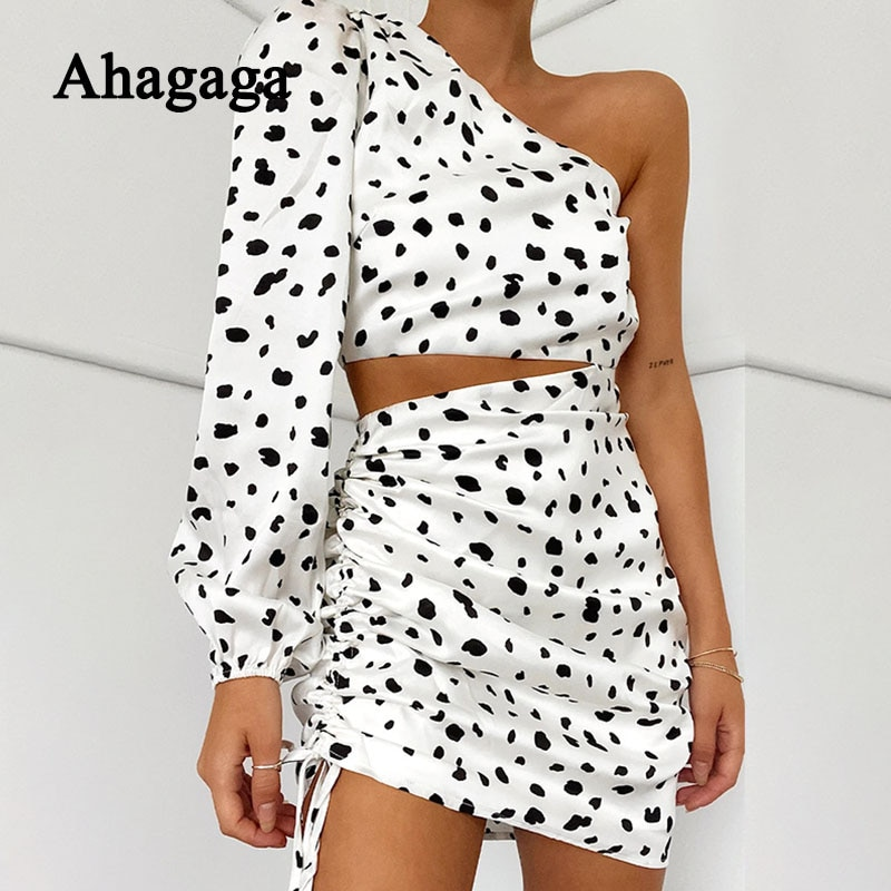 2020 Mini Leopard Dress Women Print Fashion One Shoulder Long Lantern Sleeve Drawstring Hollow Out Bandage Party Women Dresses