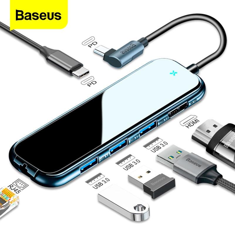 Baseus USB-C نوع C محور إلى HDMI RJ45 USB متعدد المنافذ 3.0 محول للحاسوب النقال برو الهواء حوض USB C HUB مع شاحن لاسلكي ل iWatch