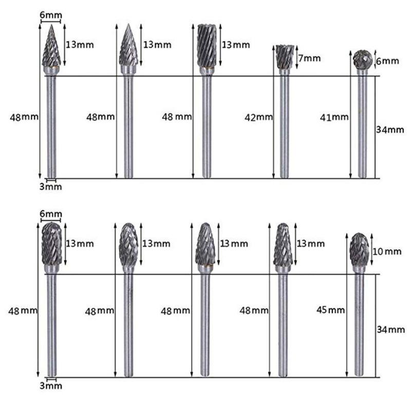 10tk varre volframkarbiidist freeslõikur pöörleva tööriistaga, - Abrasiivtööriistad - Foto 4