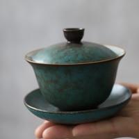 LUWU green ceramic gaiwan teaup Kung fu tea sets drinkware