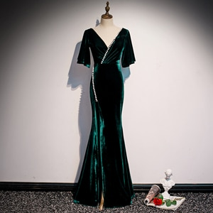 Evening Dresses Green Velour V-neck Half Sleeve Bandange Mermaid Party Dress Floor Length Long Beading 2020 New Sexy Prom Dress