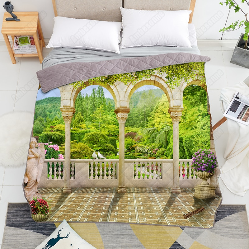 Print on Demand Summer Quilt Beautiful View From The Terrace Queen Size Coverlet Quilts Custom Bedspread on The Bed Dorm Covers