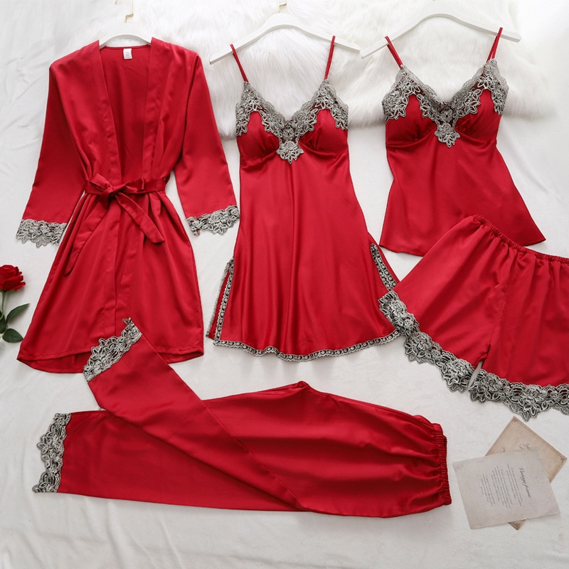 5PC Silk Robe Sleep Suit Womens Lace Satin Pajamas Gown Set V-Neck Cami Nighties Wear Pijama Home Nightwear Spring Nightdress