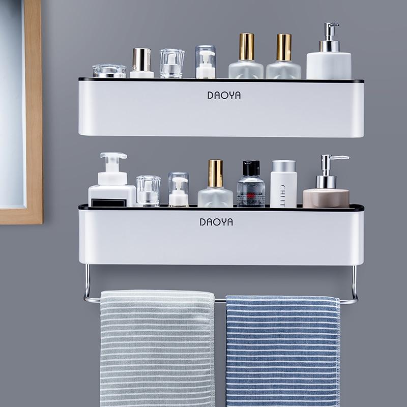 Bathroom Shelf Shower Caddy Organizer Wall Mount Shampoo Rack With Towel Bar No Drilling Kitchen Storage Accessories