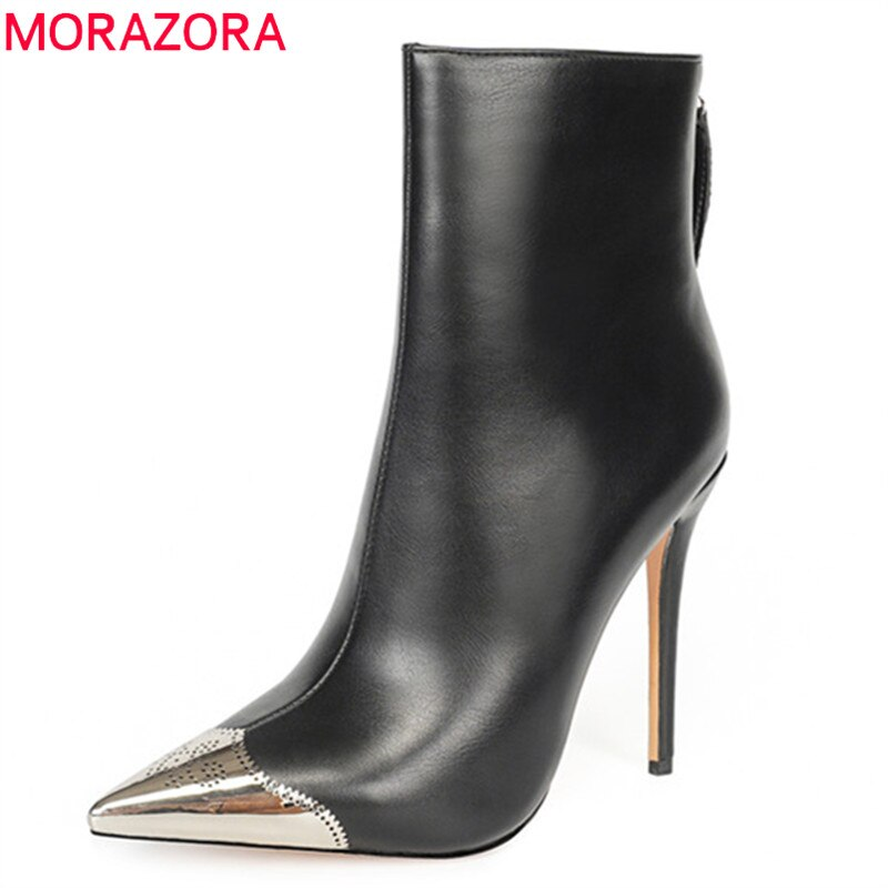 MORAZORA 2020 grande taille 43 femmes bottines métal orteil automne hiver chaussons zip sexy super talons hauts fête mariage chaussures femme