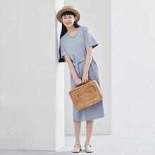 INMAN 2020 printemps nouveauté australien confortable coton col rond mode forme ajustée une ligne robe