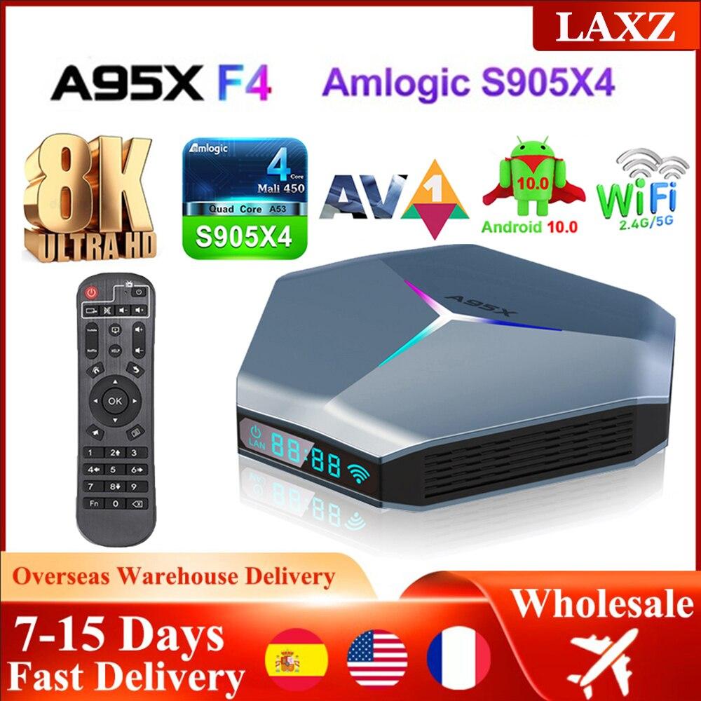 A95X F4 S905X4 الذكية أندرويد 10 مشغل الوسائط صندوق التلفزيون HD يوتيوب 4GB RAM 32GB 64GB 128GB ROM 2.4G/5Ghz واي فاي RGB ضوء قمة مجموعة صندوق