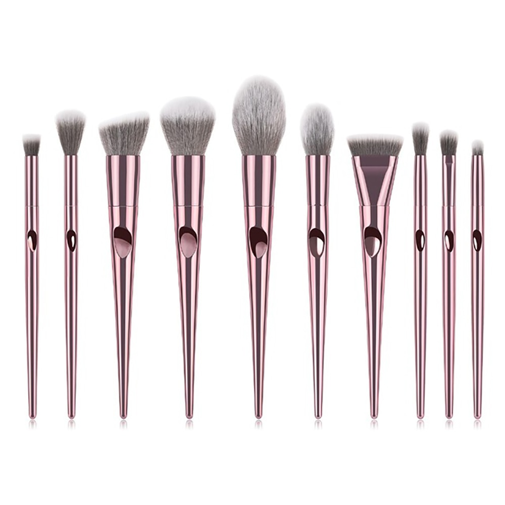 GUJHUI Pro 8pcs Metal Makeup Brushes Set Cosmetic Face Foundation Powder Eyeshadow Blush Lip Plating Make Up Brush Kit Maquiagem