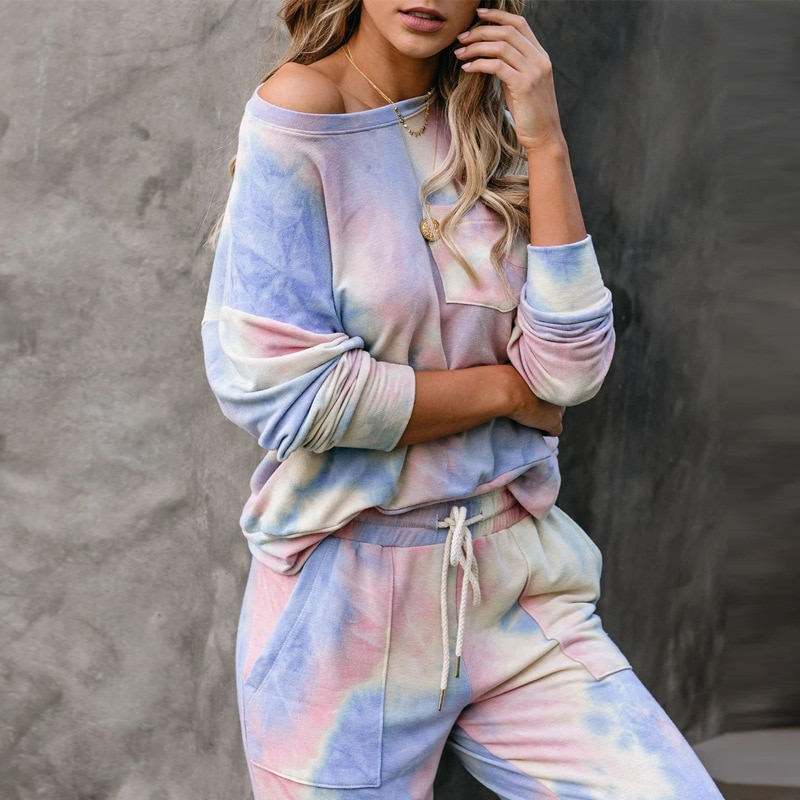 stripe shorts sets women s suit long sleeve single breasted shirts and elastic waist shorts 2021 summer thin two piece set women Summer Women Set Home Tie Dye Long Sleeve Top Shirt And Shorts White Outfits Casual Suit Loose Two Piece Sets