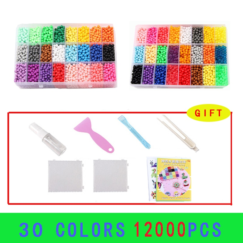 12000pcs Magic Water Sticky Beads Toys DIY Beads Handmade Bead Toy Educational Puzzle Children Hama Bead for Girls Boys Kit