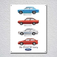 ford escort rs retro vintage tin sign metal sign metal poster metal decor metal painting wall sticker wall sign wall decor