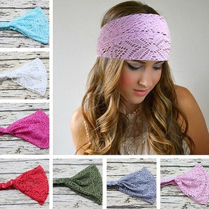 Richkeda Store New 2021 Girl Hair Accessories Fashion Solid Color Hair Elastic Stretchy Wide Head Band Lace Head Turban Bandanas