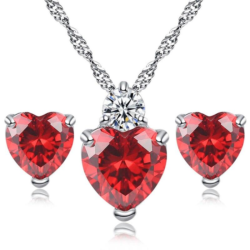 Gran oferta 1PC Natural collar Color plateado granate colgante de corazón de cristal collar de San Valentín, romántico regalo Dropshipping. Exclusivo. May22