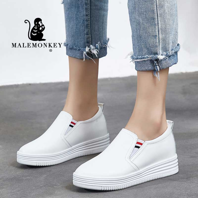 weideng new autumn solid color genuine leather platform breathable leisure white and black comfortable 2017 loafers women shoes Women Flats Platform Shoes 2021 Spring Autumn Outdoor Walking Loafers Shoes Comfortable Classic White Pumps Shoes Ladies Black