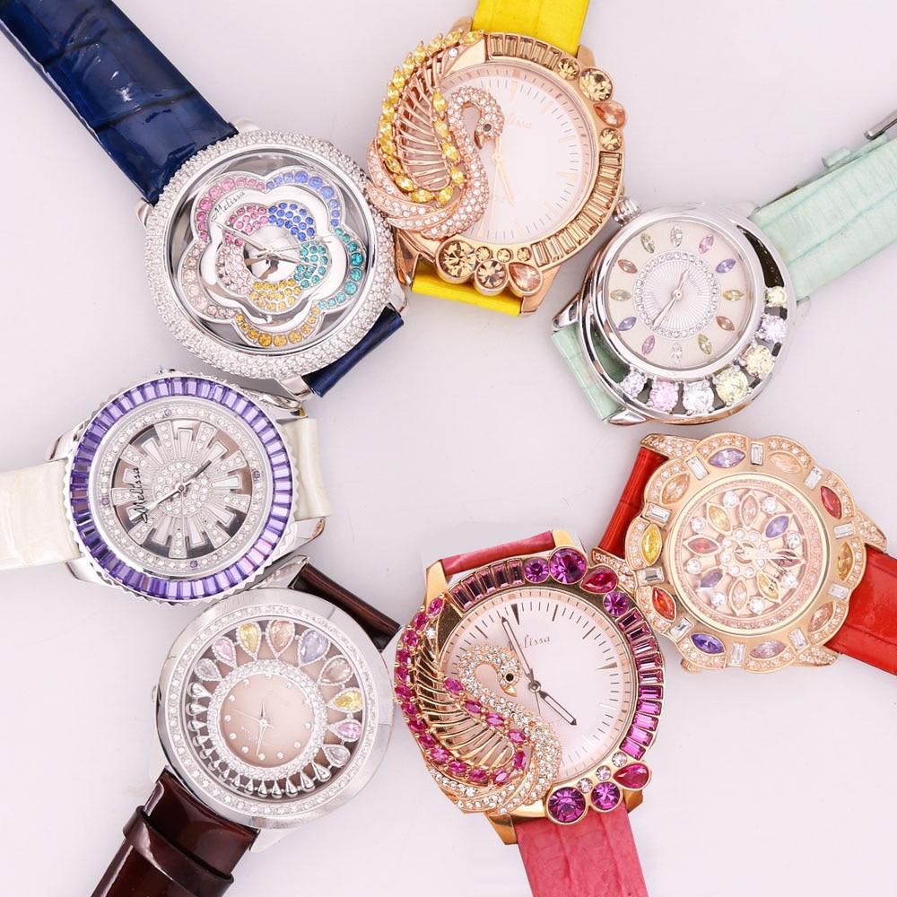 تخفيض!!!! ساعة ميليسا بجعة كريستالية للسيدات ، خصم ، ساعات ، سوار ياباني ، جلد ، هدية للبنات ، بدون صندوق