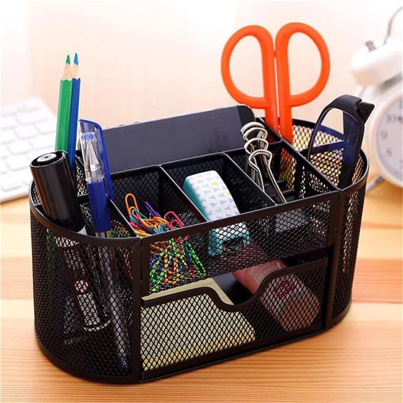 Multi-functional Metal Mesh Desk Organizer Pen Holder Stationery Container Box Office School Storage Supplies Accessories