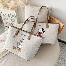 Disney Minnie High capacity handbag women Canvas bag female 2020 Tote bag cartoon bag Mickey shoulder portable shopping bag gift