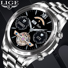 2021 New LIGE Luxury Men Smart Watch TWS Heart Rate Blood Pressure Sports Fitness Music Watches Blue
