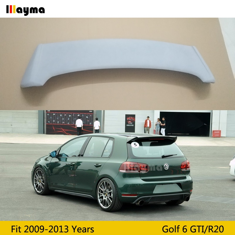 OSIR estilo de fibra de vidrio techo ala spoiler para Voslkwagen Golf VI R20 MK6 coche FRP mate gris trasero spoiler tronco 2009-Año 2013